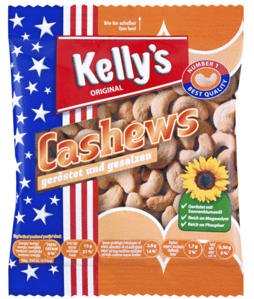 Verpackung von Kelly's Cashews roasted and salted