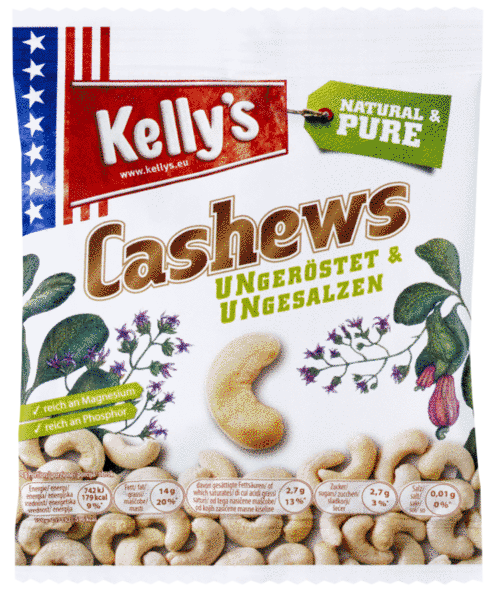 Verpackung von Kelly's Cashews unroasted and unsalted