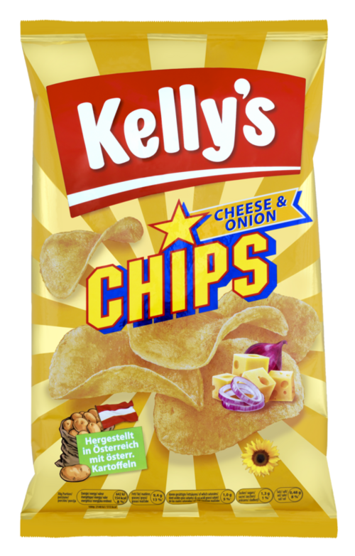 Verpackung von Kelly's CHIPS CHEESE & ONION