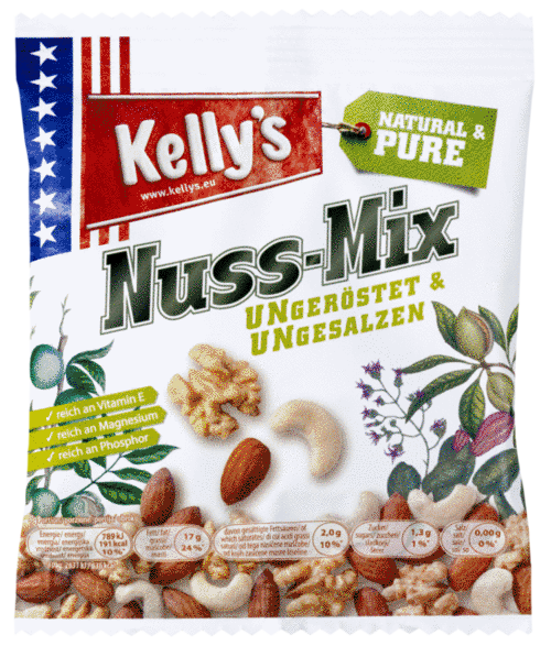 Verpackung von Kelly's nut-mix unroasted and unsalted