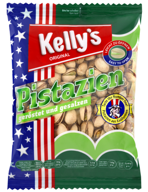Verpackung von Kelly´s Pistachios roasted and salted