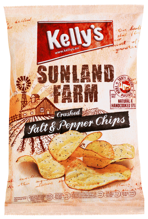 Verpackung von Kelly's SUNLAND FARM Chips Crushed Salt & Pepper