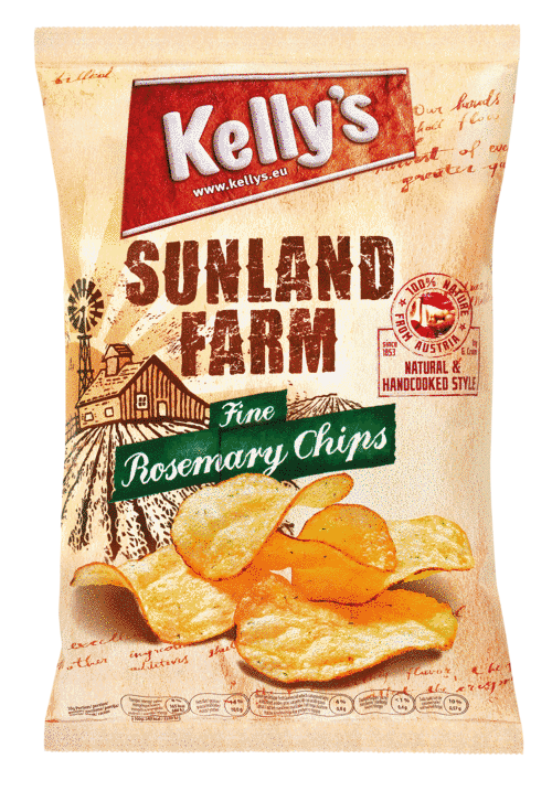 Verpackung von Kelly's SUNLAND FARM Chips Fine Rosemary